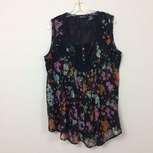 Denim 24/7 Black Floral Lacey Lined Top
